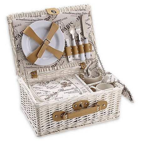 Over & Back Cafe Picnic Basket for 2 in White | Bed Bath & Beyond