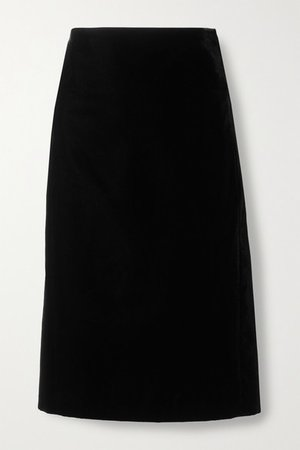 Velvet Pencil Skirt - Black