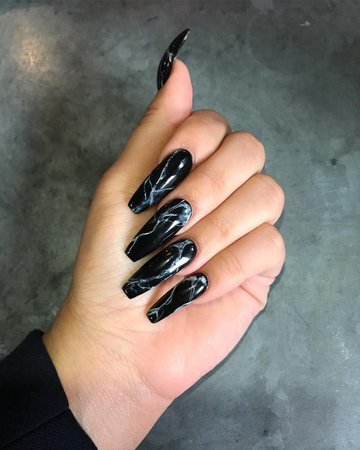 pinterest/instagram: adoremysteeze✨ subscribe to my youtube @ yourstrulyasia 💕 in 2019 | Black coffin nails, Black nail designs, Black acrylic nails