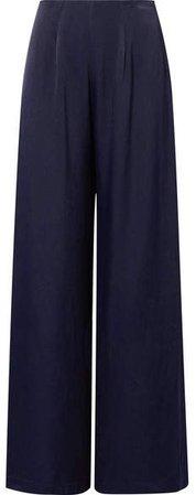 Les Héroïnes - The Coco Satin Wide-leg Pants - Navy