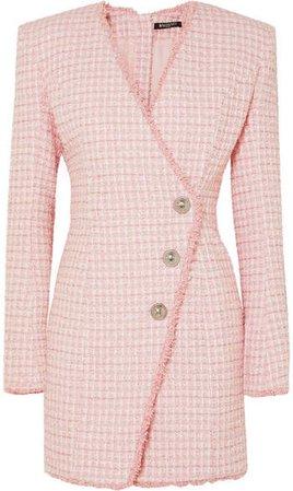 Wrap-effect Button-embellished Tweed Mini Dress - Pink