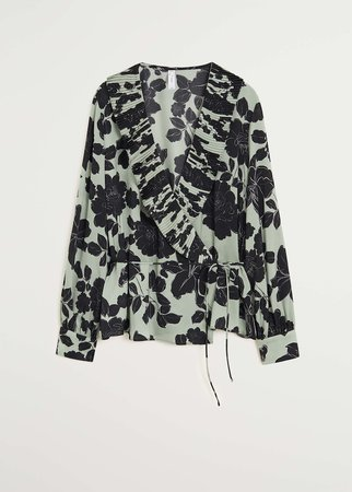 Wrap printed blouse - Women   Mango USA