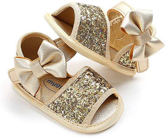 Amazon.com | SOFMUO Baby Girls Floral Closed Toe Sandals Non-Slip Soft Rubber Sole Infant Toddler Summer Walking Shoes (0-6 Months M US Infant, D-Gold) | Sandals