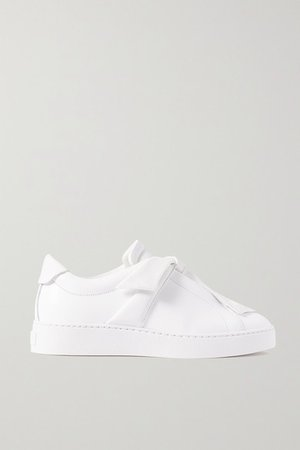 Clarita Bow-embellished Leather Slip-on Sneakers - White