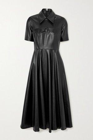 Alice Faux Leather Midi Shirt Dress - Black