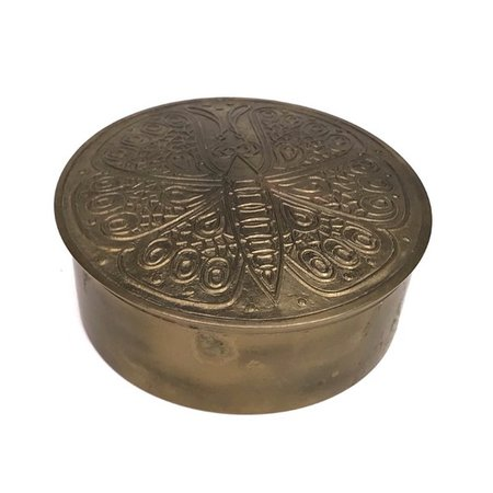 Vintage Storage & Organization | Vintage Brass Butterfly Trinket Box Embossed Metal | Poshmark