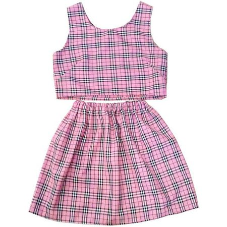 Pink Cher Tartan Plaid Co-ord Two Piece Clueless Twinset Womens