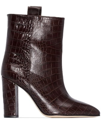 Paris Texas 100mm crocodile-effect ankle boots
