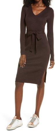 Barbara Tie Waist Long Sleeve Midi Dress