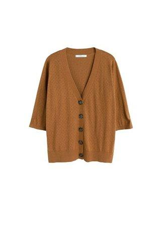 Violeta BY MANGO Openwork cotton cardigan