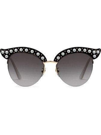 Gucci Eyewear Black Cat Eye Acetate Sunglasses With Pearls - Farfetch