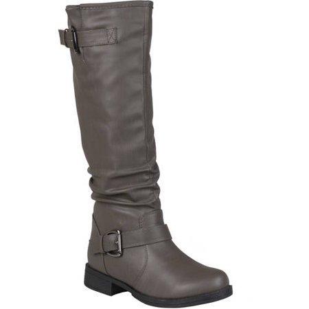 Brinley Co. - Brinley Co. Wide Calf Slouchy Buckle Detail Boots (Women's) - Walmart.com grey