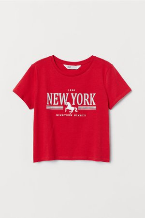 T-shirt with Printed Design - Red/New York - Kids   H&M US