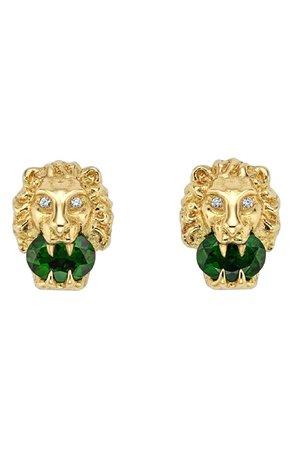 Gucci Lion Head Diamond & Stone Stud Earrings | Nordstrom