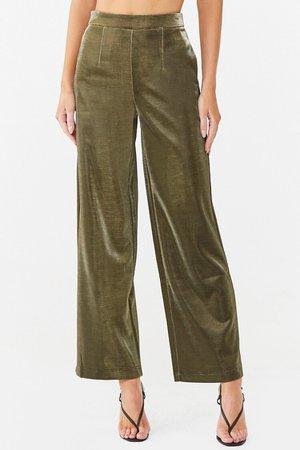 Metallic Wide-Leg Pants