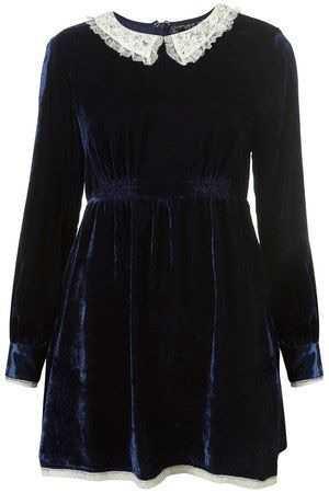Topshop navy velvet dress