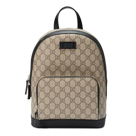 GG Supreme small backpack in Beige/ebony GG Supreme canvas, a material with low environmental impact | Gucci Men's Backpacks