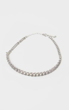 Silver Pave Solid Link Chain Choker | PrettyLittleThing