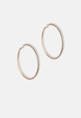 Gold Look Rhinestone Hoop Earrings | Missguided