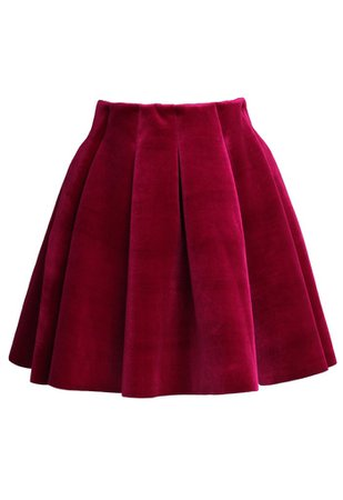 Wine Red Velvet Skater Skirt - Retro, Indie and Unique Fashion