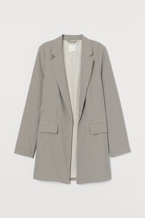 Long Jacket - Beige/black checked - Ladies | H&M US