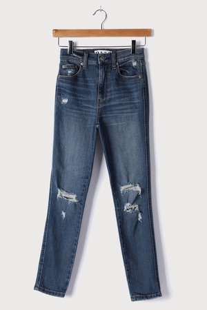 Daze Denim Moneymaker Walk Me Home - Medium Wash Distressed Jeans - Lulus