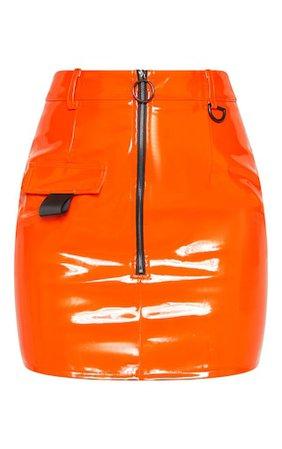 Neon Orange Vinyl Zip Detail Mini Skirt