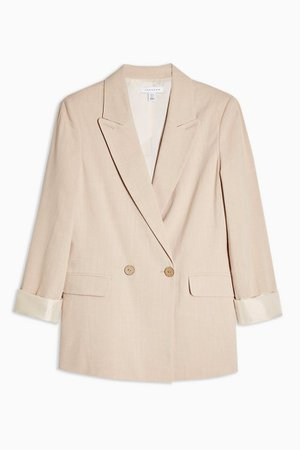 Double Breasted Jacket With Linen | Topshop pink