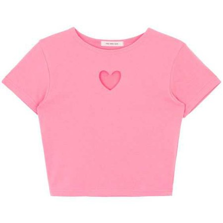pink heart cut out tee shirt