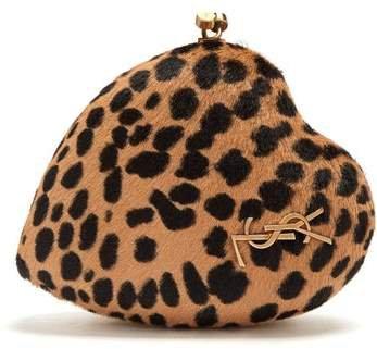 Love Box Leopard Print Calf Hair Clutch - Womens - Leopard
