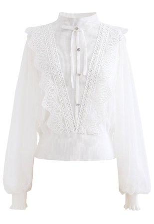 Bowknot Crochet Mesh Sleeves Knit top in White - Retro, Indie and Unique Fashion
