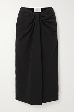 Knotted Silk-blend Cady Midi Skirt - Black
