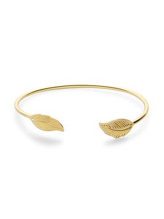 Gold Plated Leaf Wrap Bangle