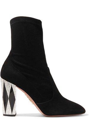 Aquazzura   + Noor Fares So Noor verzierte Sock Boots aus Veloursleder   NET-A-PORTER.COM