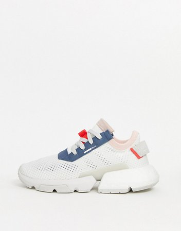 adidas Originals POD sneaker in white and blue | ASOS