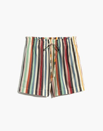 Smocked-Waist Pull-On Shorts in Rainbow Stripe