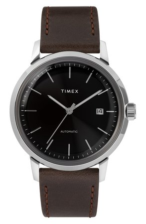 Timex® Marlin Automatic Leather Strap Watch, 40mm | Nordstrom