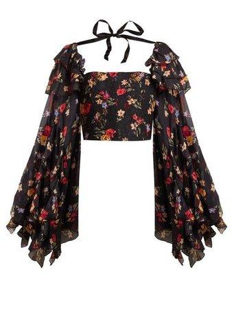 black floral ruffled top