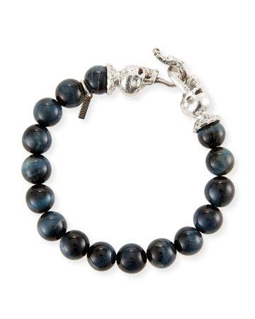 Emanuele Bicocchi Blue Tiger Eye Sterling Silver Bracelet