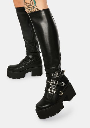 *clipped by @luci-her* Lamoda Polly Rocket Knee High Boots   Dolls Kill
