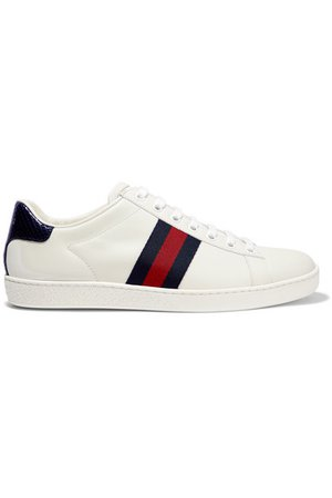 Gucci | Ace watersnake and canvas-trimmed leather sneakers | NET-A-PORTER.COM
