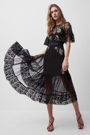 Ambre Embroidered Midi Dress