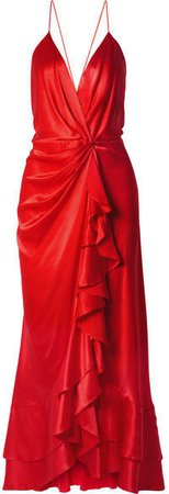 Pefumero Ruffled Silk-satin Wrap Gown - Red