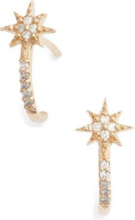 Anzie Diamond Star Half Hoop Huggie Earrings | Nordstrom