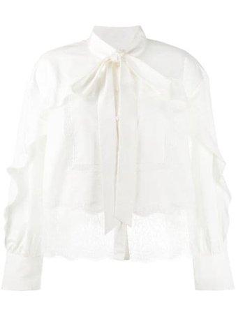 Self-Portrait lace-embellished cotton blouse