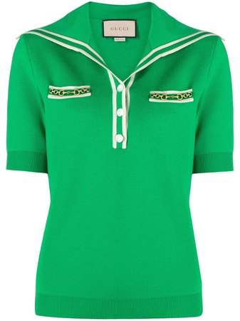 Shop green Gucci oversize-collar polo shirt with Express Delivery - Farfetch