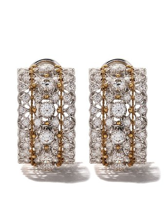 18Kt White Gold Buccellati Medium Hoop Diamond Earrings Continuity   Farfetch.com
