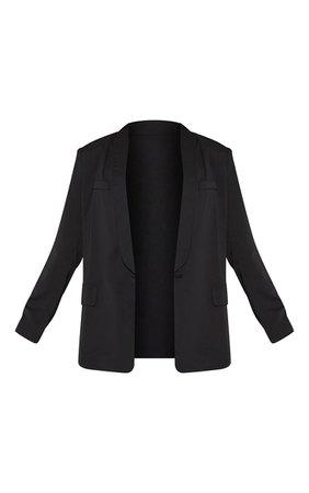 Black Curved Lapel Woven Longline Blazer   PrettyLittleThing USA