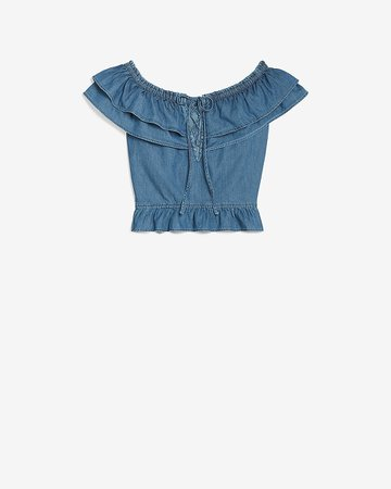 Denim Off The Shoulder Lace Up Crop Top | Express