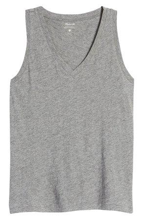 Madewell Whisper Shout Cotton V-Neck Tank | Nordstrom